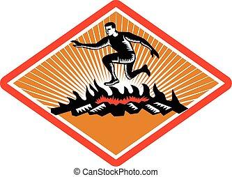 fuego, obstáculo, carreras, woodcut, saltar