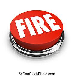 fuego, palabra, en, redondo, botón rojo