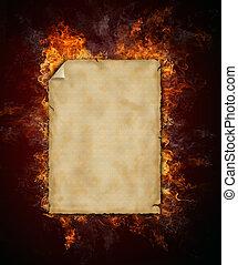 fuego, papel