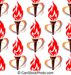 fuego, patrón, antorcha, seamless