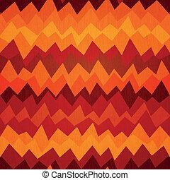 fuego, patrón, coloreado, zigzag, seamless