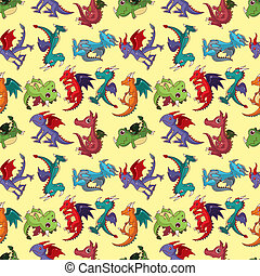 fuego, patrón, dragón, caricatura, seamless