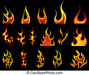 fuego, patrones, conjunto