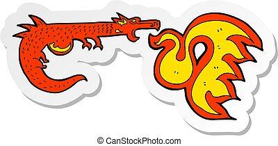 fuego, pegatina, respiración, caricatura, dragón