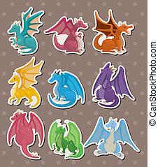 fuego, pegatinas, dragón