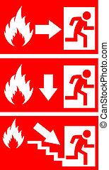 fuego, peligro, vector, señales