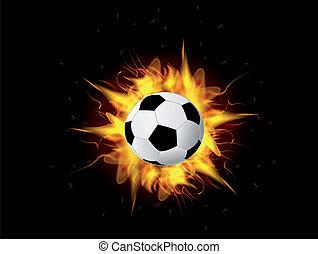 fuego, pelota del fútbol, llama, vector