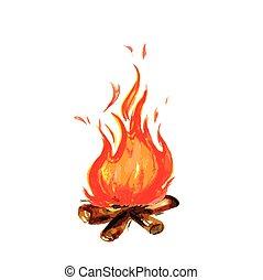 fuego, pintado, estilo, acuarela
