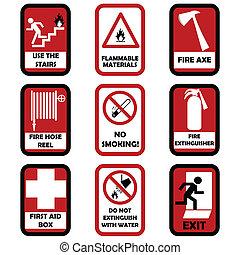 fuego, precaución, señales
