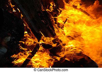 fuego, primer plano, fondo negro, llamas