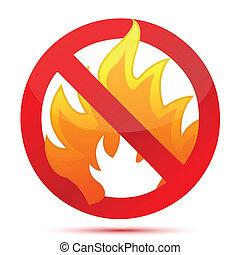 fuego, prohibido, diseño, ilustración