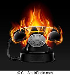 fuego, realista, retro, teléfono