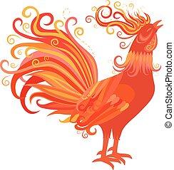 fuego, símbolo, gallo, año, nuevo, 2017