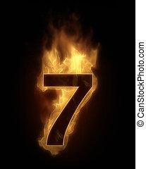 fuego, siete, número, muy caliente