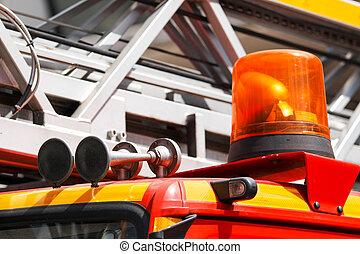 fuego, sirena, camión, detalle