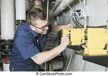 fuego, sistema, calefacción, ingeniería, reparador, o, ingeniero