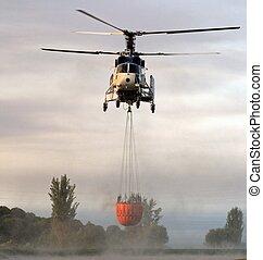 fuego, spain., lucha, helicóptero
