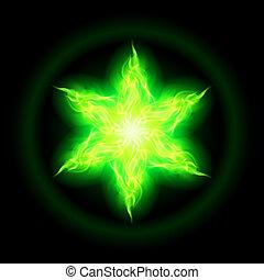 fuego, star., verde