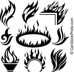 fuego, tatuajes, conjunto, llama, señales