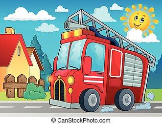 fuego, tema, 2, camión, imagen