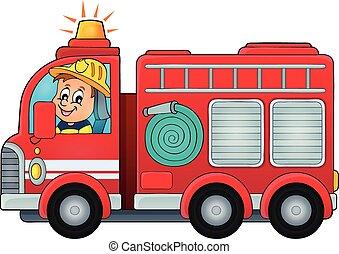 fuego, tema, camión, imagen, 4