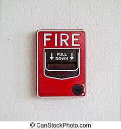 fuego, tirón, alarma, caja