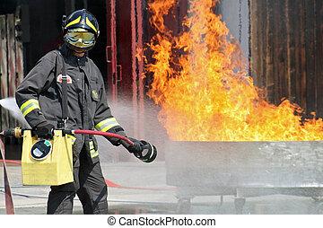 fuego, uso, manguera, bombero