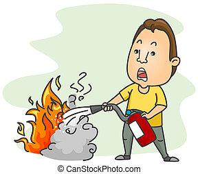 fuego, utilizar, extintor