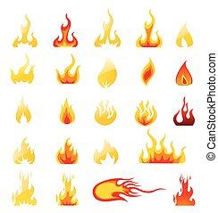 fuego, vector, conjunto, iconos