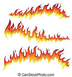 fuego, vector, elementos