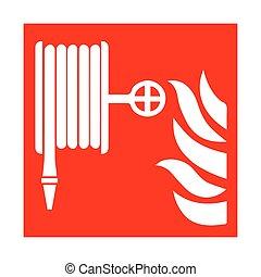 fuego, vector, emergencia, icons., illustration.
