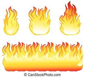fuego, vector, ilustración, elemento