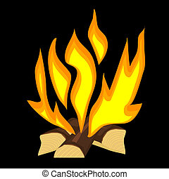 fuego, vector, ilustración