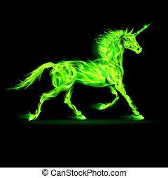 fuego, verde, unicorn.
