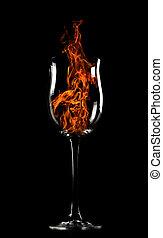 fuego, vidrio