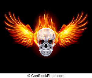 fuego, wings., ardiente, cráneo