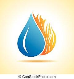fuego, y, agua, concepto