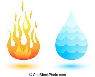 fuego, y, agua