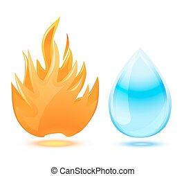 fuego, y, agua, símbolo