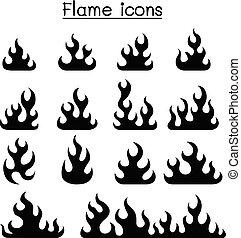 fuego, y, conjunto, llama, icono