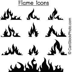 fuego, y, conjunto, llamas, icono