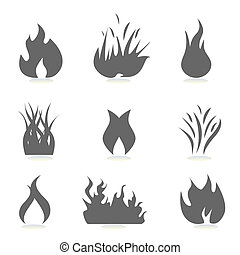 fuego, y, llama, iconos