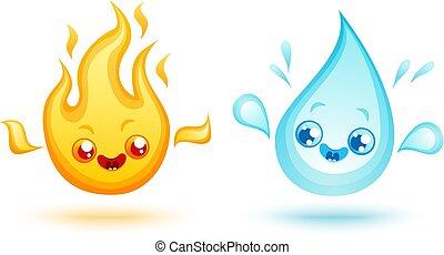fuego, y, water.