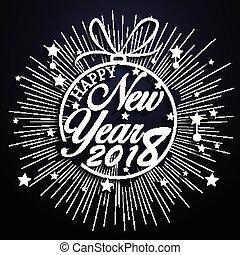fuegos artificiales, 2018, plano de fondo, año, nuevo, feliz