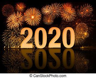fuegos artificiales, año, nuevo, 2020