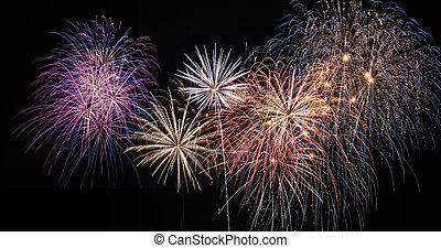 fuegos artificiales, celebración