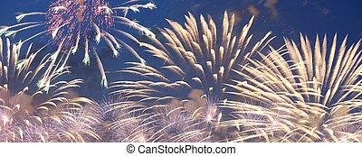 fuegos artificiales, cielos, estallar, colorido, celebratory