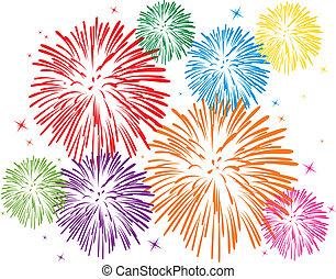 fuegos artificiales, colorido