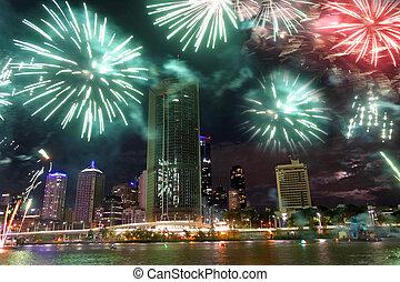 fuegos artificiales demuestran, en, brisbane, australia