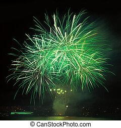 fuegos artificiales, en, el, cielo de la noche